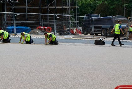 Commercial resin bound paving resin install