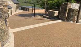 Golden resin driveway Oldham, Manchester